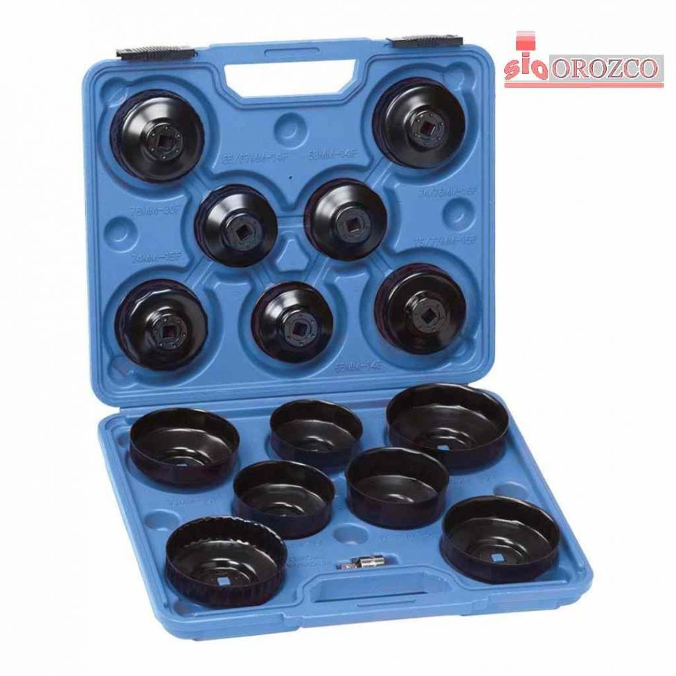 Juego llaves de vaso para filtros de aceite en maleta 15 piezas